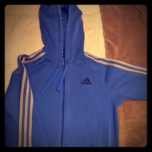 Adidas Men's 3 Strip Full Zip Hoodie Sweatshirt